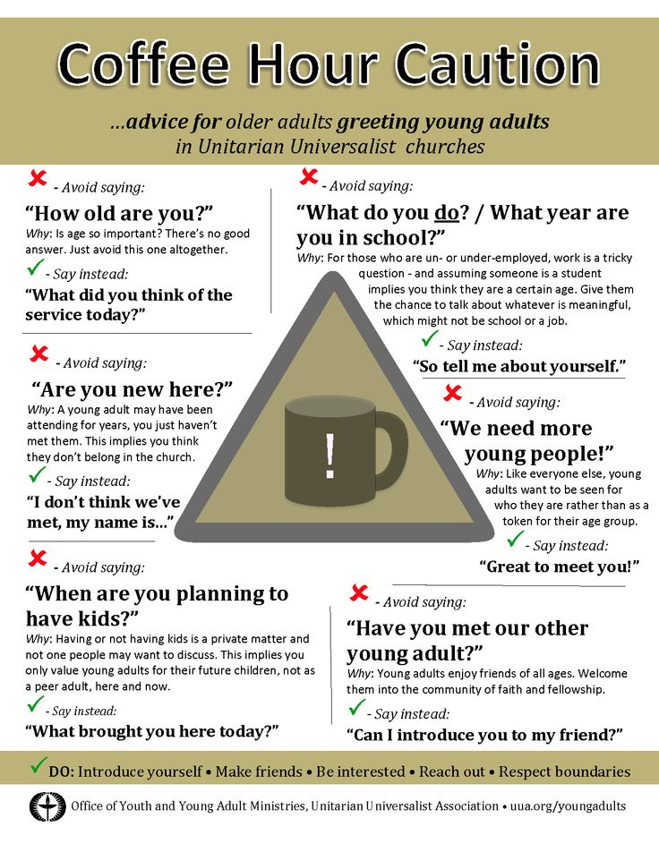 Advice for talking with young adults (and youth) at Coffee Hour