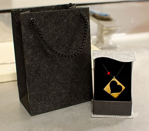 14K Yellow Gold Plated Sterling Silver 925 Handcrafted Heart in a Box Pendant. Ready for sending!!