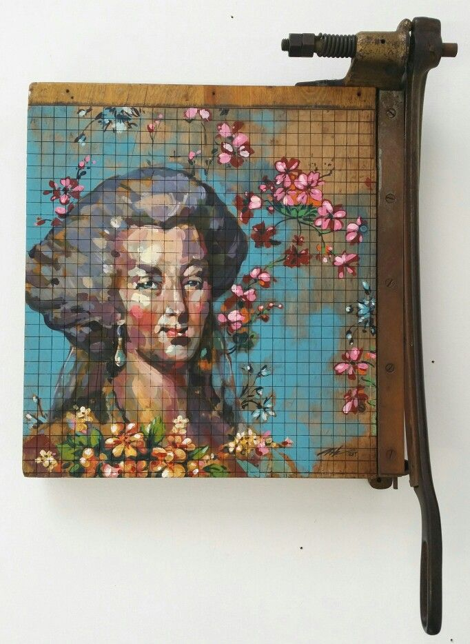 The Death of Beauty 1 - Alex Hamilton ( acrylic on vintage paper guillotine)