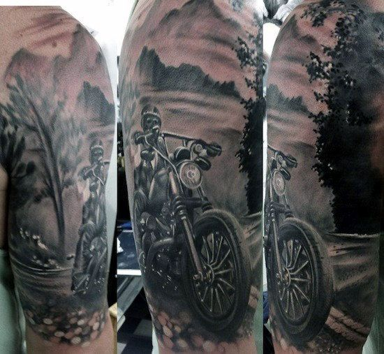 Half Sleeve Open Road Biker Guys Tattoo Inspiration