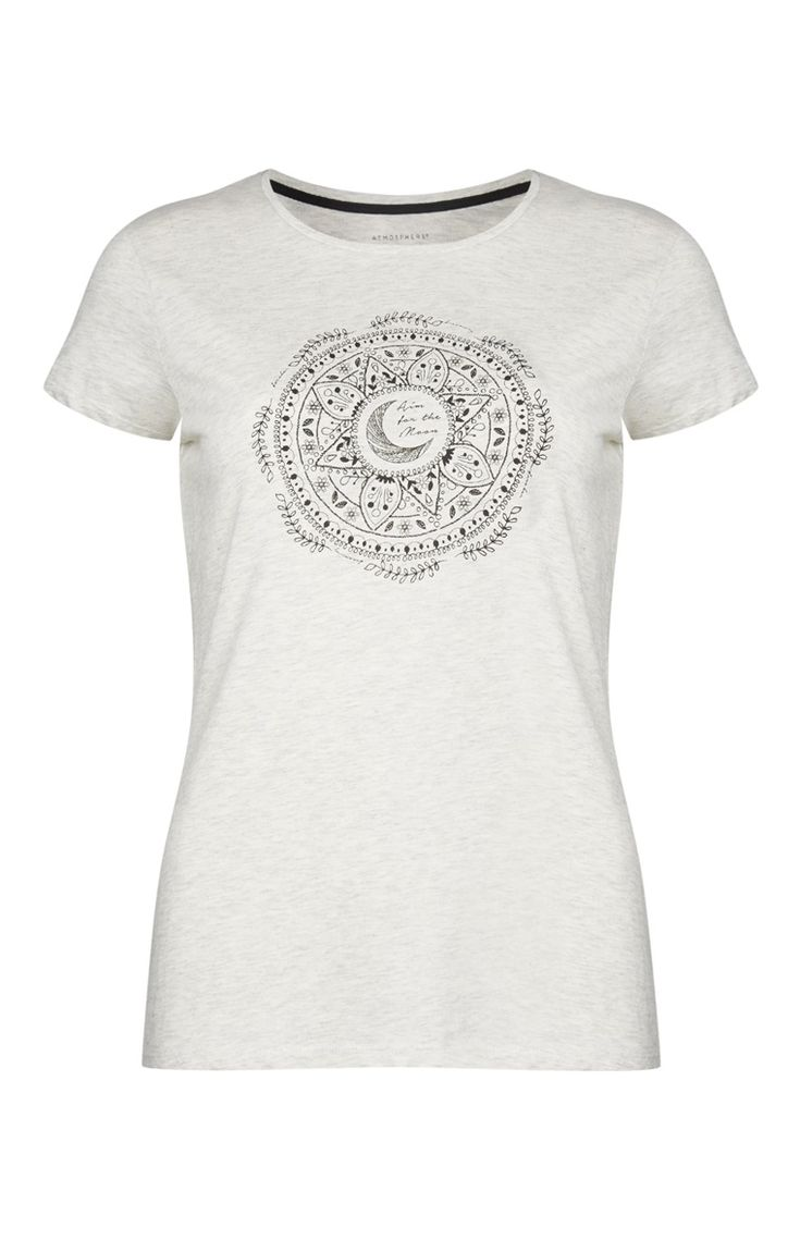 Primark - Camiseta estampado mandala color crudo