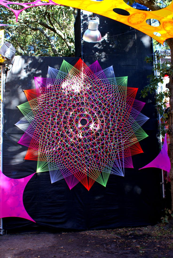 Flower of life string art, UV active, psychedelic, festival decor, decor with meaning, hippy vibes :) Taken at Easter Vortex Steps to the Stars V2.0 in 2011 in Cape Town, South Africa