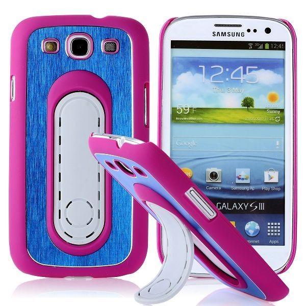 SIII Bend Stand (Hot Roze - Blauw) Samsung Galaxy S3 Case