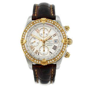 LOT:28 | BREITLING - a gentleman's bi-metal Chronomat Evolution chronograph wrist watch.