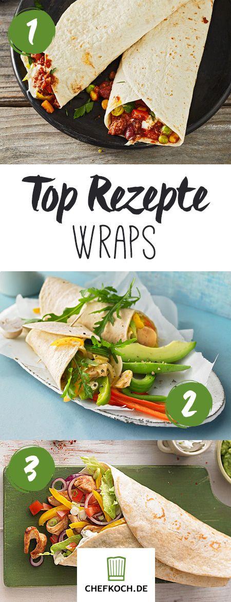 Wraps mit Fleisch, Fisch, Gemüse oder buntem Salat