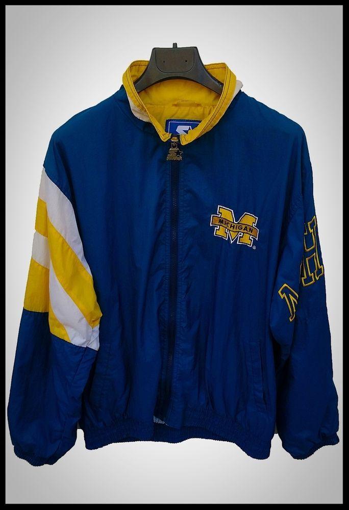 giubbino uomo starter michigan vintage usato blu giallo jacket man used blu