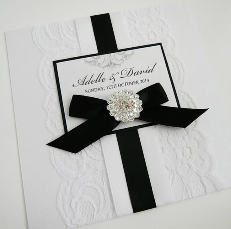 Black Ribbon White Lace Wedding Invitation with