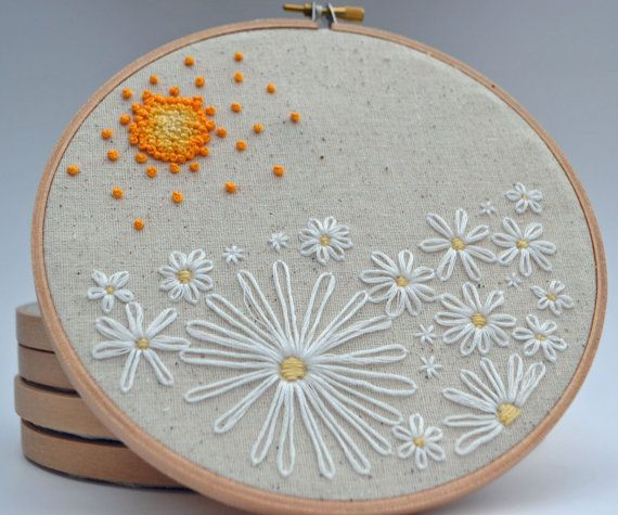 Embroidery Hoop Art Field of Daisies Wall Art