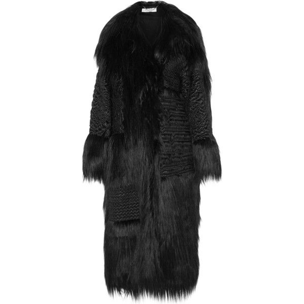 Stella McCartney Nyla embroidered faux fur coat ($3,900) ❤ liked on Polyvore featuring outerwear, coats, black, fur, jackets, long quilted coat, long black coat, stella mccartney coat, print coat and black coat