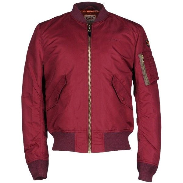 Schott Jacket ($253) ❤ liked on Polyvore featuring men's fashion, men's clothing, men's outerwear, men's jackets, maroon, mens zip up jackets, mens padded bomber jacket, mens bomber jacket and mens padded jacket