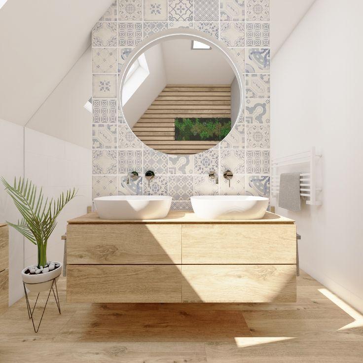 Elegantní koupelna DUO ATTICO | Elegant bathroom DUO ATTICO #bathroom #koupelna #podkrovi #attic #retro #wooddesign #blue #perfectodesign