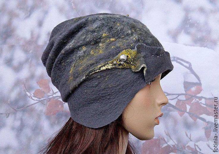 Купить Шапка валяная YELLOW STAMENS - серый, абстрактный, шапка валяная, валяная…