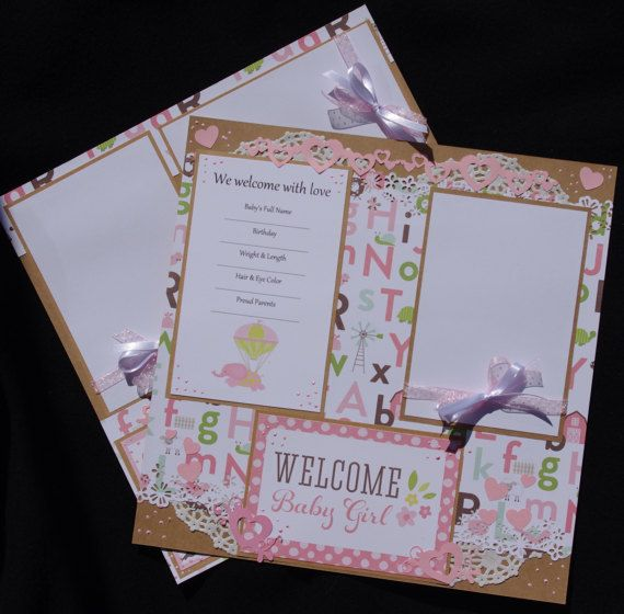 Welcome Baby Girl 212x12 Premade Scrapbook by TheWhimsicalFlower