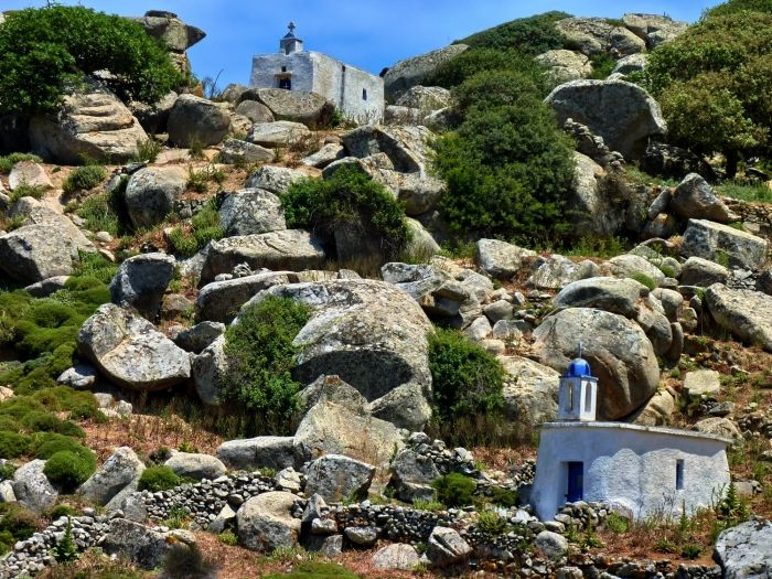 Boulders and churches landscape near Volax, Tinos island
