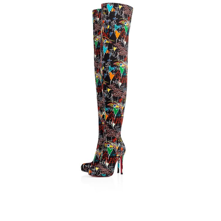 Moulin Noir 120 Black Crepe satin/Satin/Lurex - Women Shoes - Christian Louboutin