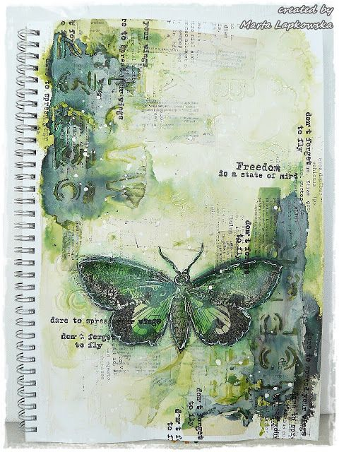 #papercrafting #artjournaling: http://artistycrafty.blogspot.com/2015/06/freedom-of-moth-journal-page-video.html