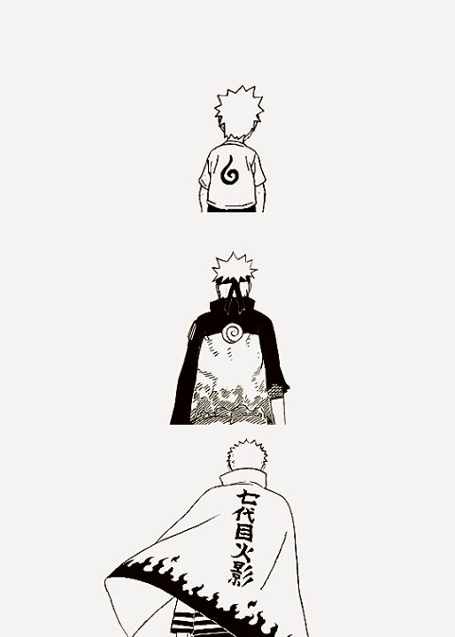 Uzumaki Naruto. This picture just show us how naruto transform from zero to hero. So don't give up!