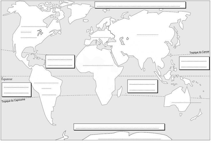 Planisphère à compléter