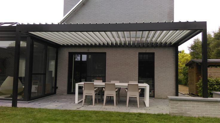 Lamellendak design aanbouw aan veranda algarve Renson met waterdicht dak - realisatie door Horpirol