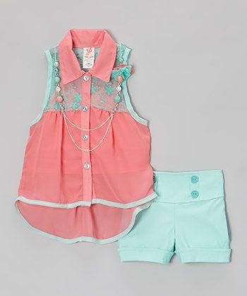 Pink & Teal Button-Up Tank Set - Toddler & Girls