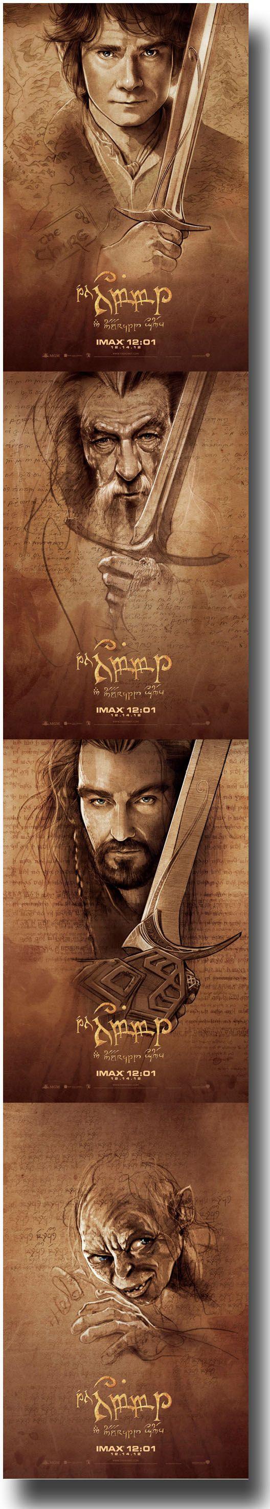 All 4 Imax Midnight screening posters for the Hobbit  Bilbo/Gandalf/Thorin/Gollum ~ movie posters