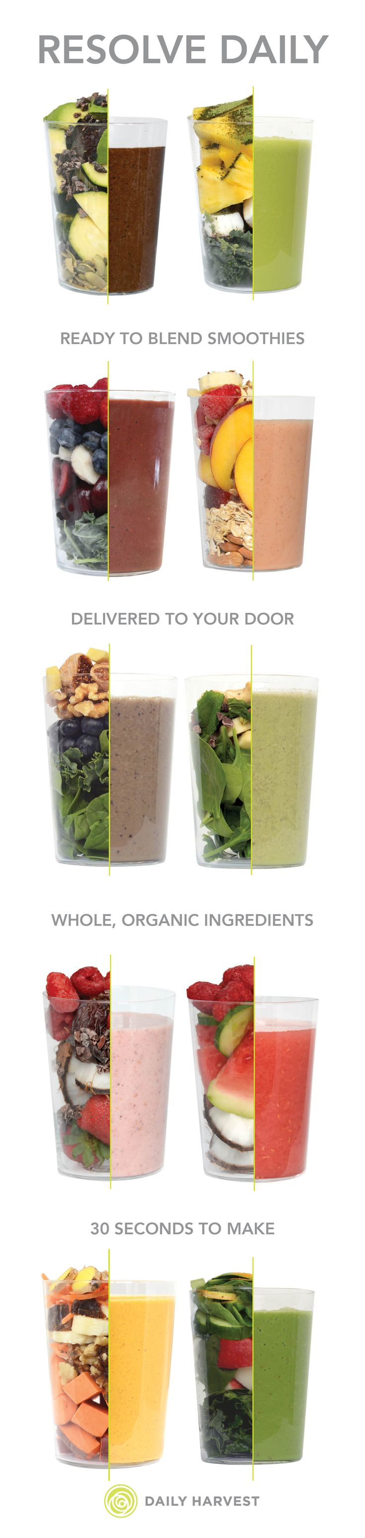 Eat better in 2016 with 14 ready-to-blend smoothies delivered frozen to your door. Full of whole, organic ingredients that only take 30 seconds to blend for a fresh, nutrient-dense smoothie any time.