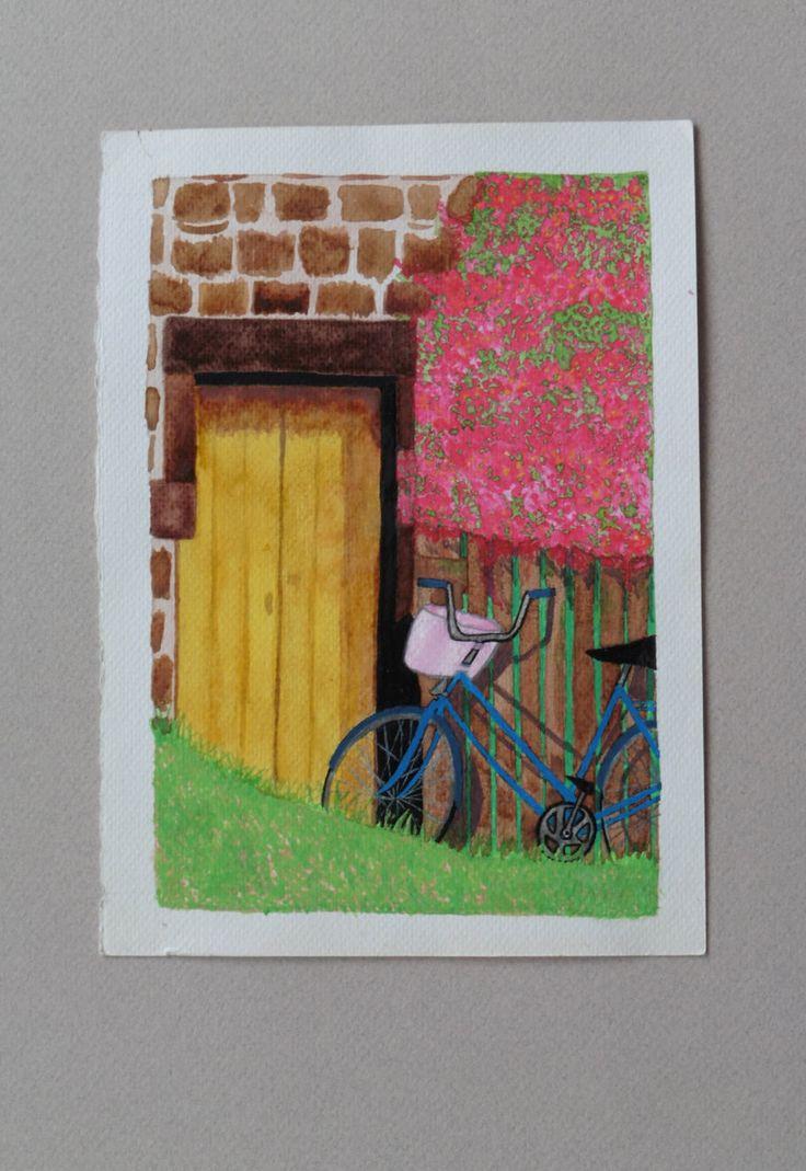 FORMATO GRANDE: La bicicleta de paseo. Acuarela. Fine art, giclée, print. de ElCuadernoDeNacar en Etsy