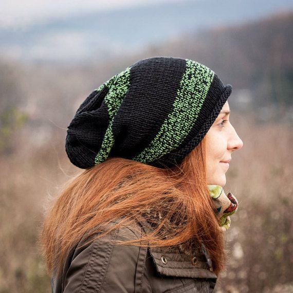 Black Green Striped Slouchy Beanie Hat / 100% Cotton by RUKAMIshop