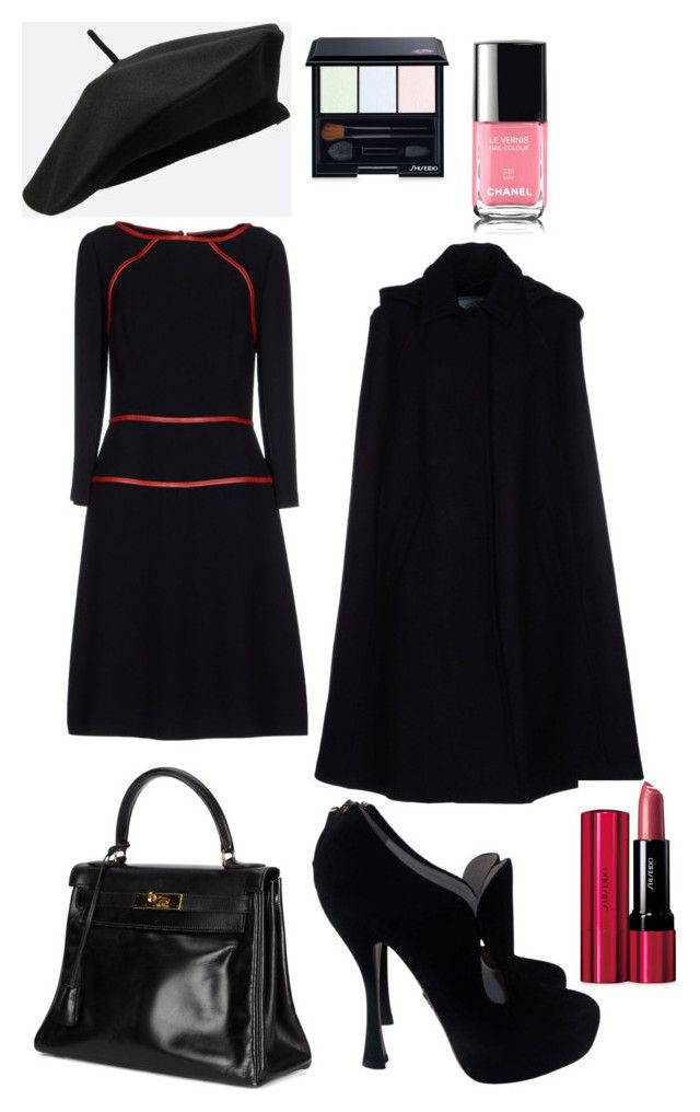 """#vampire Outfit #black winter day #NC4you"" by claudiasauter on Polyvore featuring Mode, Hermès, Prada, Shiseido, Winter, black und NC4you"