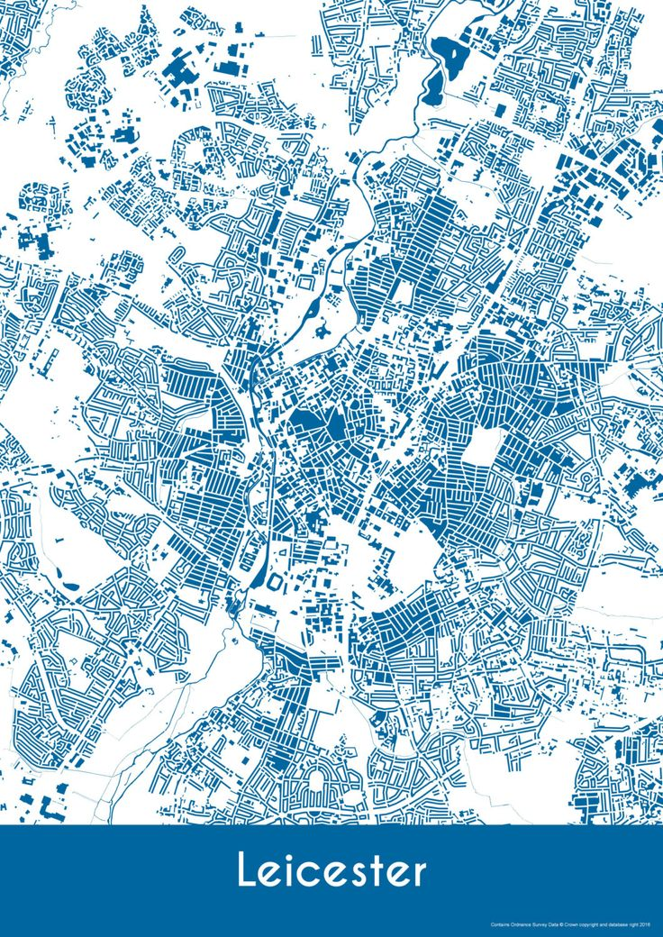 Leicester Map - Buildings - Leicester Print - City Map Art of Leicester City, England by YourPlaces on Etsy
