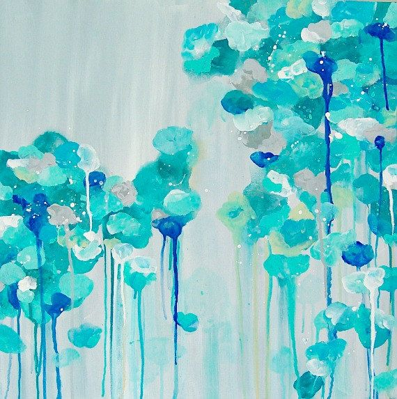 """Abstract Painting Gray Aqua Cerulean Blue Designer painting Bright Colors Art Canvas 20"""" x 20"""""""
