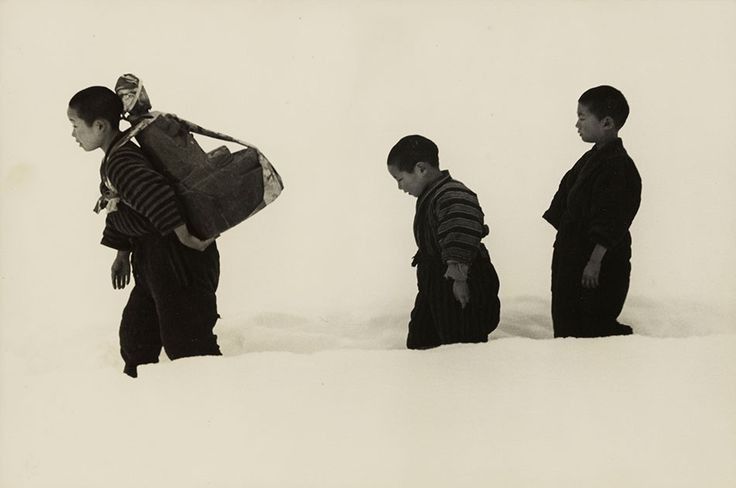 New Year's visit with jizo, Niigata, 1940 by Hiroshi Hamaya