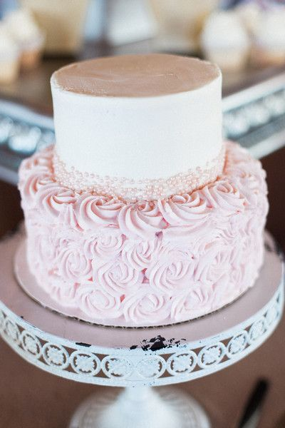 Pink and white wedding cake idea - two-tier wedding cake with light pink rosettes {Judy Nuñez Photography}