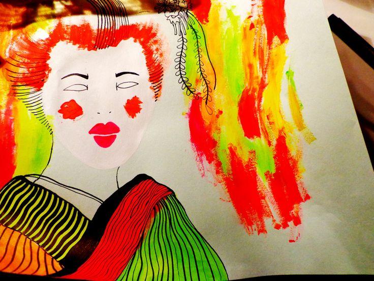 chinese geisha fluor illustration colors