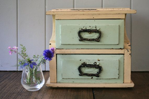 Small Set Drawers Storage Cabinet Box Wooden Rustic by FoundByHer