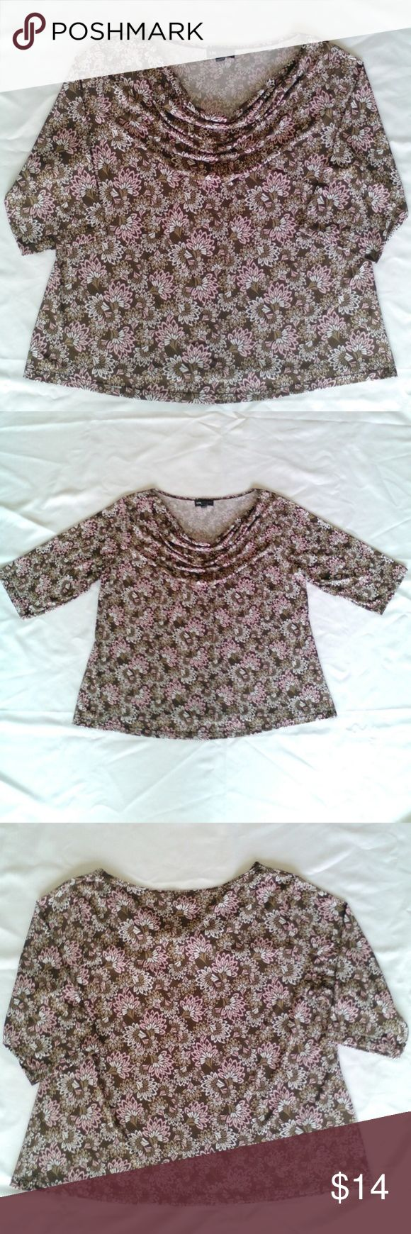 Floral Paisley Cowl Neck 3/4 Sleeve Drape Blouse This is a beautiful, brand new, unworn, I.N. Studios, round waterfall cowl neck top with 3/4 sleeves. It is a creamy chocolate color with white and light pink spliced tulip flower design pattern. This blouse is made from a very comfy, 96% Polyester 4% Spandex fabric that has a nice stretch to it as well as silky soft texture. I think this would match perfectly with a pair of denim jeans, or any black or solid colored skirt! IN Studios Tops…