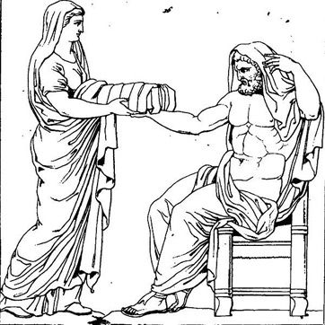 Drawing of Rhea presenting Cronus with an infant