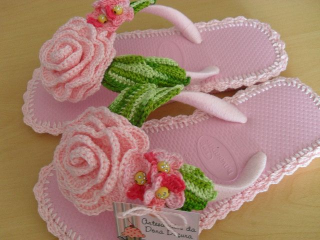 crochet right over the thongs and decorate with craft store pearls....