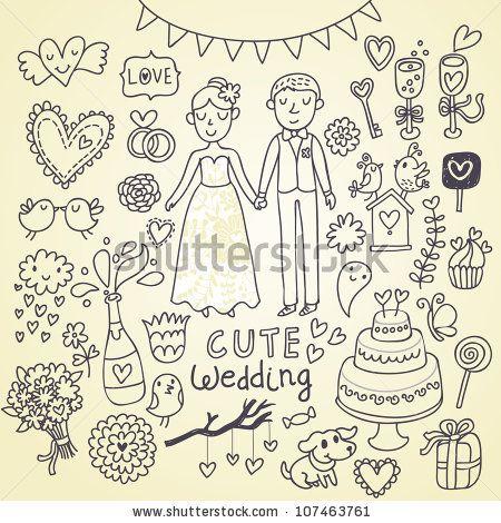 Wedding Doodle Sketchy Vector Illustration - 107463761 : Shutterstock