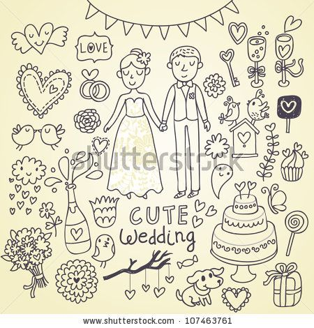 Wedding Doodle Sketchy Vector Illustration - 107463761 : Shutterstock