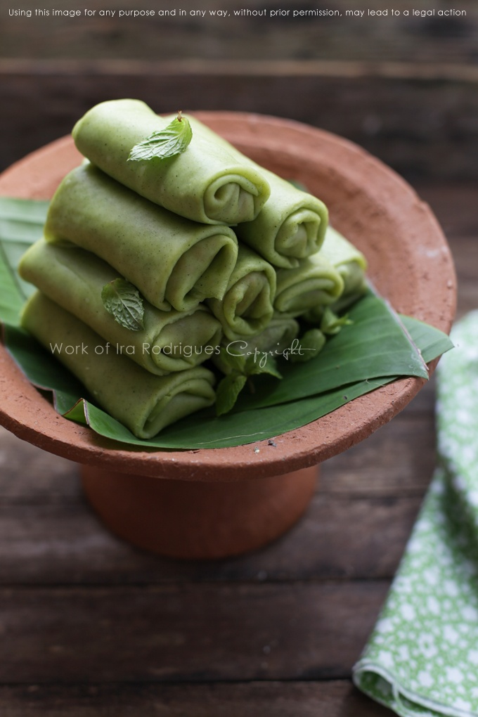 Coconut pancakes rolls, Traditional Indonesian snack that genuinely well-liked and forever charming  (Dadar Gulung)