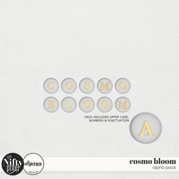 Cosmo Bloom Alpha by The Nifty Pixel This alpha is designed to look like soft vellum with gold embossing. Choosing a traditional typeface in its design lends itself to being a versatile alpha to use in all your digital projects.  PACK INCLUDES:  Upper Case Alphabet (A-Z) Numbers 0-9 + Some Punctuation. All products are saved at 300ppi for optimum printing quality.