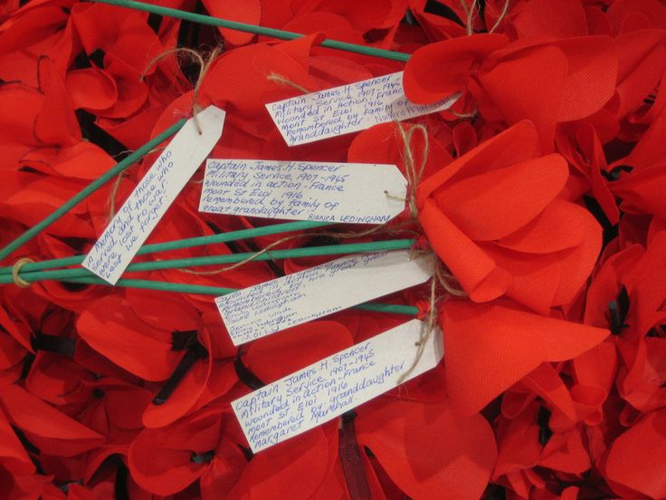 Handmade poppies with tags at Gosford Library April 2015 | Flickr - Photo Sharing!