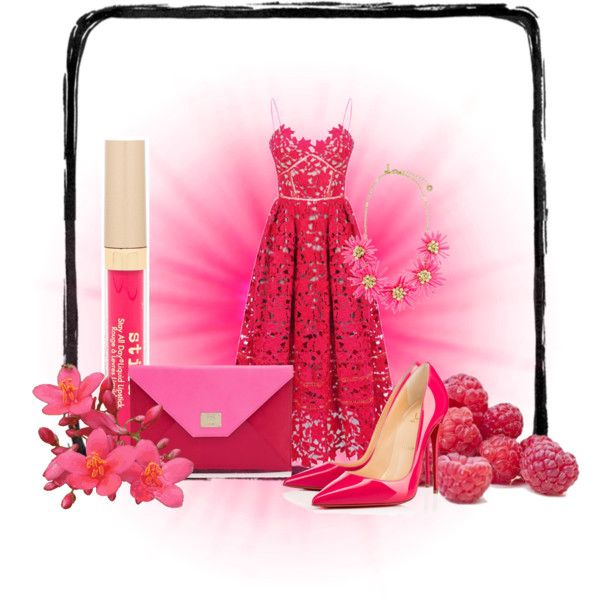 raspberry by teki-88 on Polyvore featuring Christian Louboutin, Jimmy Choo and Stila