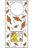 Falling For Jesus Scarecrow With Leaves Printable doorknob hanger for Sunday school kids