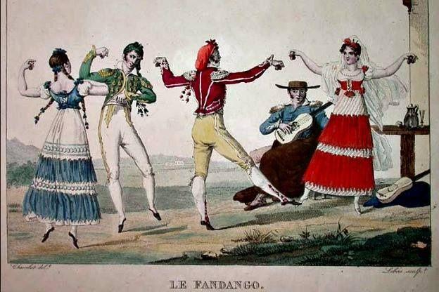 Eighteenth century Castillian fandango dancers (by Pierre Chasselat (1753-1814))