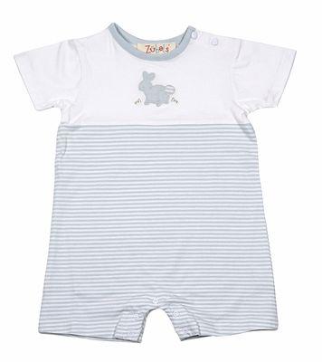 556f3de49 Petit Ami Zubels Baby Boys Blue Stripe Knit Easter Bunny Romper ...