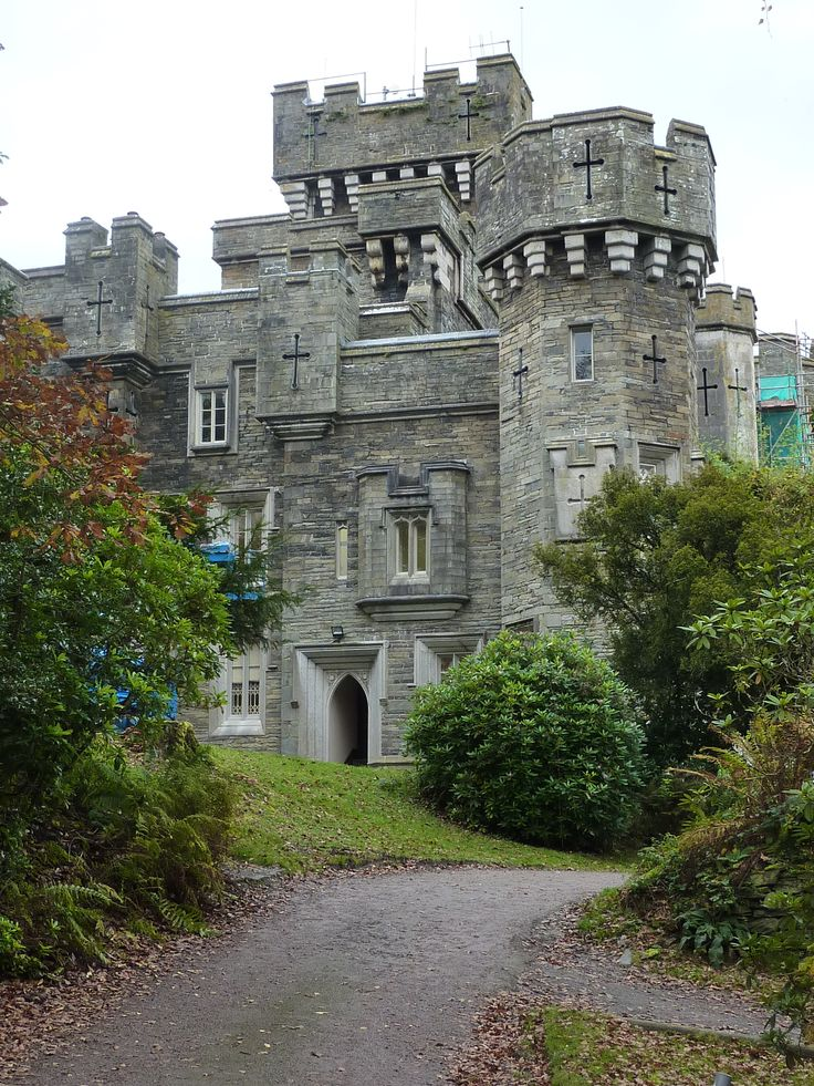 Wray Castle, Cumbria, England, a Victorian-Gothic house, built in 1840 and given to the National Trust in 1939.