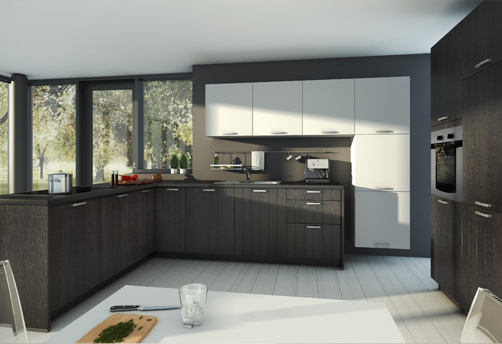 #Küche in dunklem Holz #Holzküche #Eckküche www.dyk360-kuechen.de