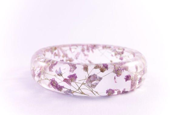 Pink Love epoxy hars armband uniek cadeau bloemen en door MukWuk
